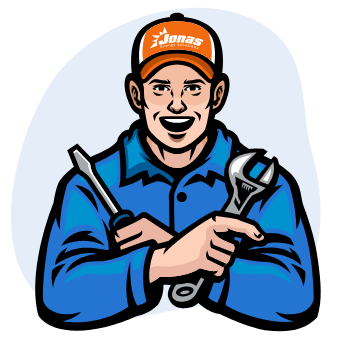 A stylized Jonas technician holding a screwdriver and a wrench.
