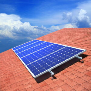 solar-panels-on-roof-with-blue-sky-in-background